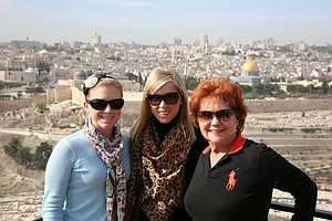 Madison Pressel, Grandma, and Morgan Pressel on top of Mount of Olives