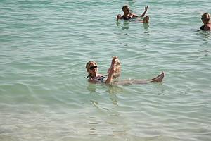 Morgan Pressel floating in the Dead Sea.
