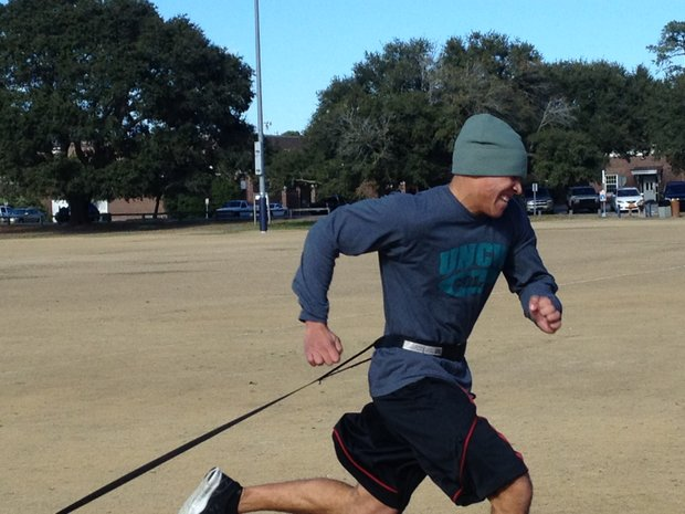 UNC-Wilmington's Josh Woodfox during the Iron Hawk Tough Man Competition.