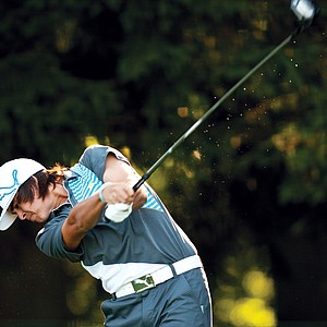 Rickie Fowler plays a shot during the second round of the AT&T National at Aronimink Golf Club in Newtown Square, Pennsylvania on July 1, 2011.