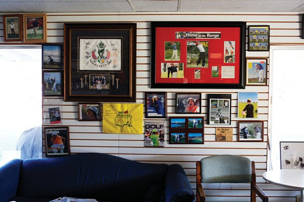 Wall inside Murrieta Valley Golf Range dedicated to golfer Rickie Fowler who took lessons and practiced here as he grew up. Photo by Jody Gomez