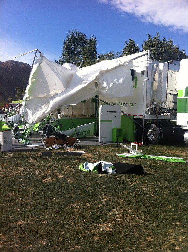 A tent is overturned during Round 3 at the Humana.