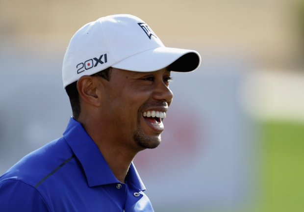 Tiger Woods during the pro-am event at the Abu Dhabi Golf Club prior to the Abu Dhabi HSBC Golf Championship.