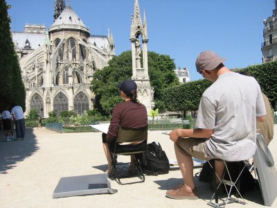 Artists sketching the Notre Dame cathedral in France. If travel, residencies or workshops are included in your career goals, there are various ways to obtain funding to support your endeavors. You just need to be specific in your applications, and ensure that your proposal is more professional, organized and attractive than your competitors.
