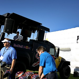 A disc jockey kept the music pumping near the Puma tent on the range at Orange County National.