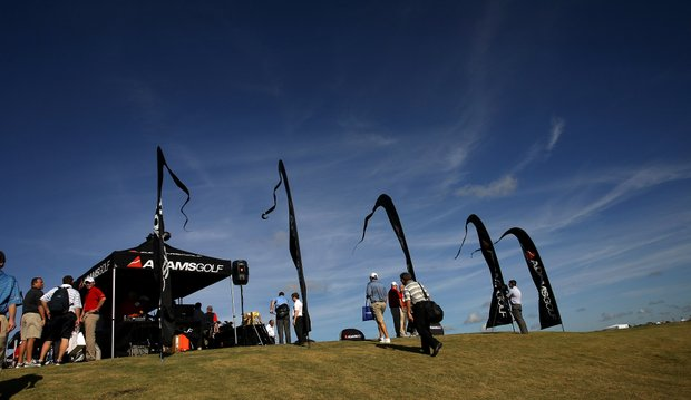 Equipment and apparel companies set up tents and flew flags all around the range area at Orange County National for Demo Day.