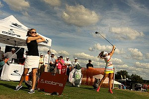 Lexi Thompson, hitting balls at last month's Demo Day during the PGA Merchandise Show.