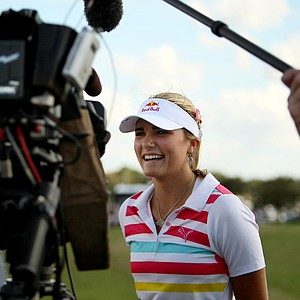 Lexi Thompson answers questions from the media during an afternoon spent at the Cobra Puma tent.