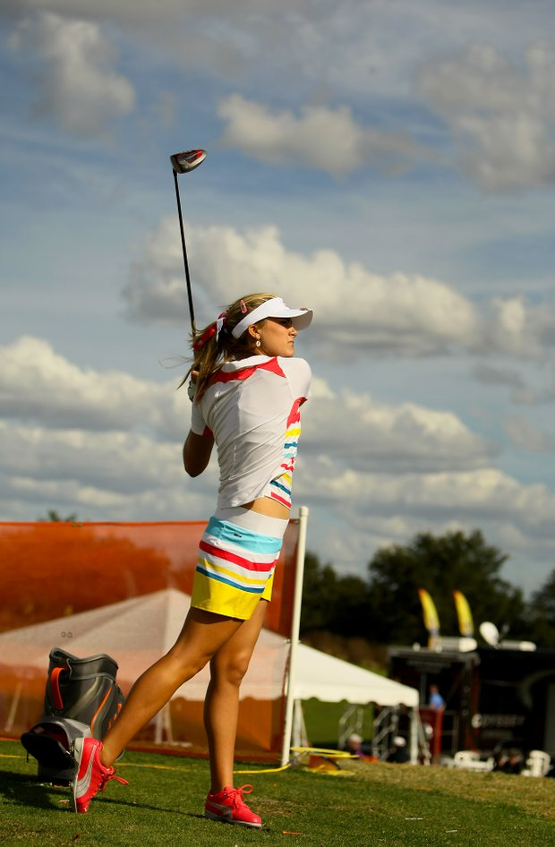 Lexi Thompson spent several minutes hitting shots in front of the Cobra Puma tent during Demo Day.