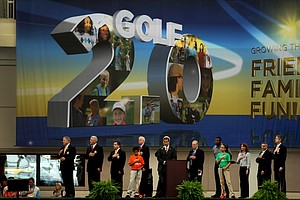 Jack Nicklaus, Ken Griffey Jr., and PGA Officials during the opening of 2012 PGA Merchandise Show.