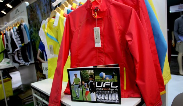 A rain jacket from the Uniting Futures Legends clothing line at the 2012 PGA Merchandise Show.-