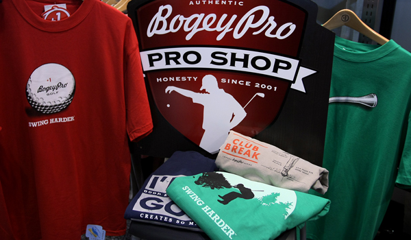 T-shirts with Bogey Pro Honest Golf Gear at the 2012 PGA Merchandise Show.