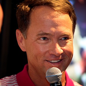2012 Ryder cup captain Davis Love III talks at the Bridgestone Golf booth during day one of 2012 PGA Merchandise Show.
