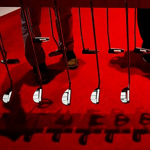 Odyssey displays a wide assortment of putters during the first day of the the PGA Merchandise Show in Orlando, Fla.