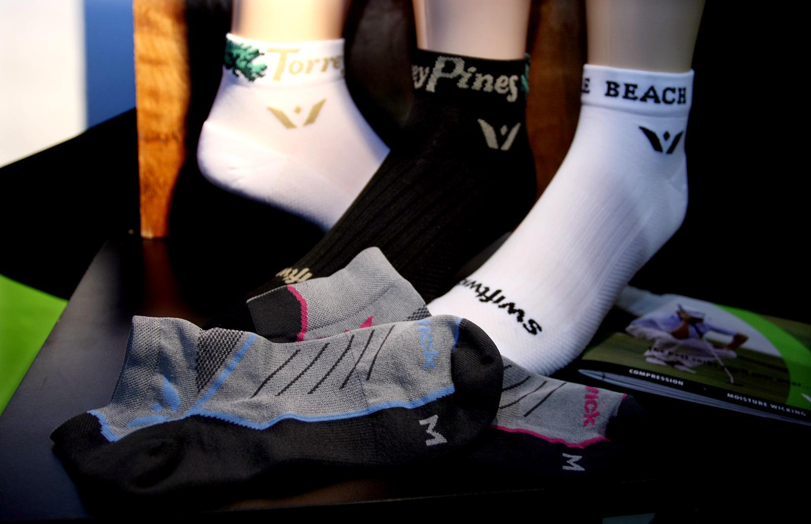 Swiftwick socks on display at the PGA Merchandise Show.