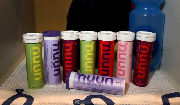 Nuun, an electrolyte enhanced drink tab is on display at the 2012 PGA Merchandise Show.