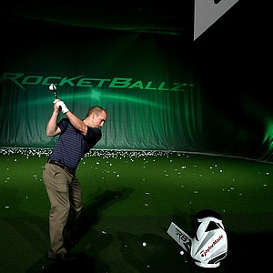 Dave Bissonnette takes his turn with TaylorMade's Rocketballz 3-wood at the 2012 PGA Merchandise Show.