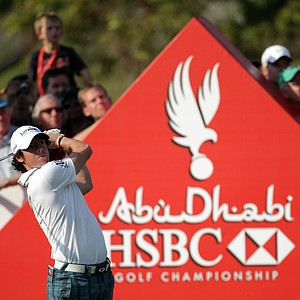 Rory McIlroy on the 15th hole during the third round of Abu Dhabi HSBC Golf Championship.