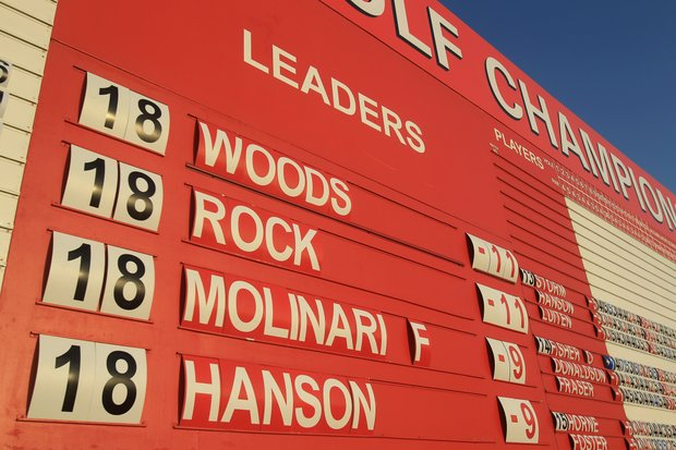A leaderboard is seen in the village after the third round of the Abu Dhabi HSBC Golf Championship.