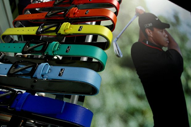 The signature swoosh cut out belt buckle with the leather belt is available in 16 different colors and was on display on the floor during the final day at the 2012 PGA Merchandise Show.