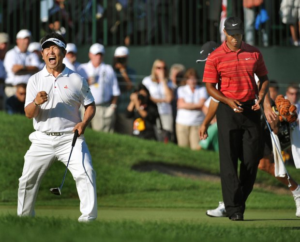 Y.E. Yang of South Korea after sinking his putt to win August 16 ,2009 at the 91st PGA Championship at the Hazeltine National Golf Club in Chaska, Minnesota.