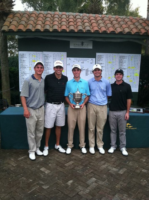 Lee Knox, Cory Whitsett, Justin Thomas, Bobby Wyatt and Hunter Hamrick at the Jones Cup in St. Simons Island, Ga.