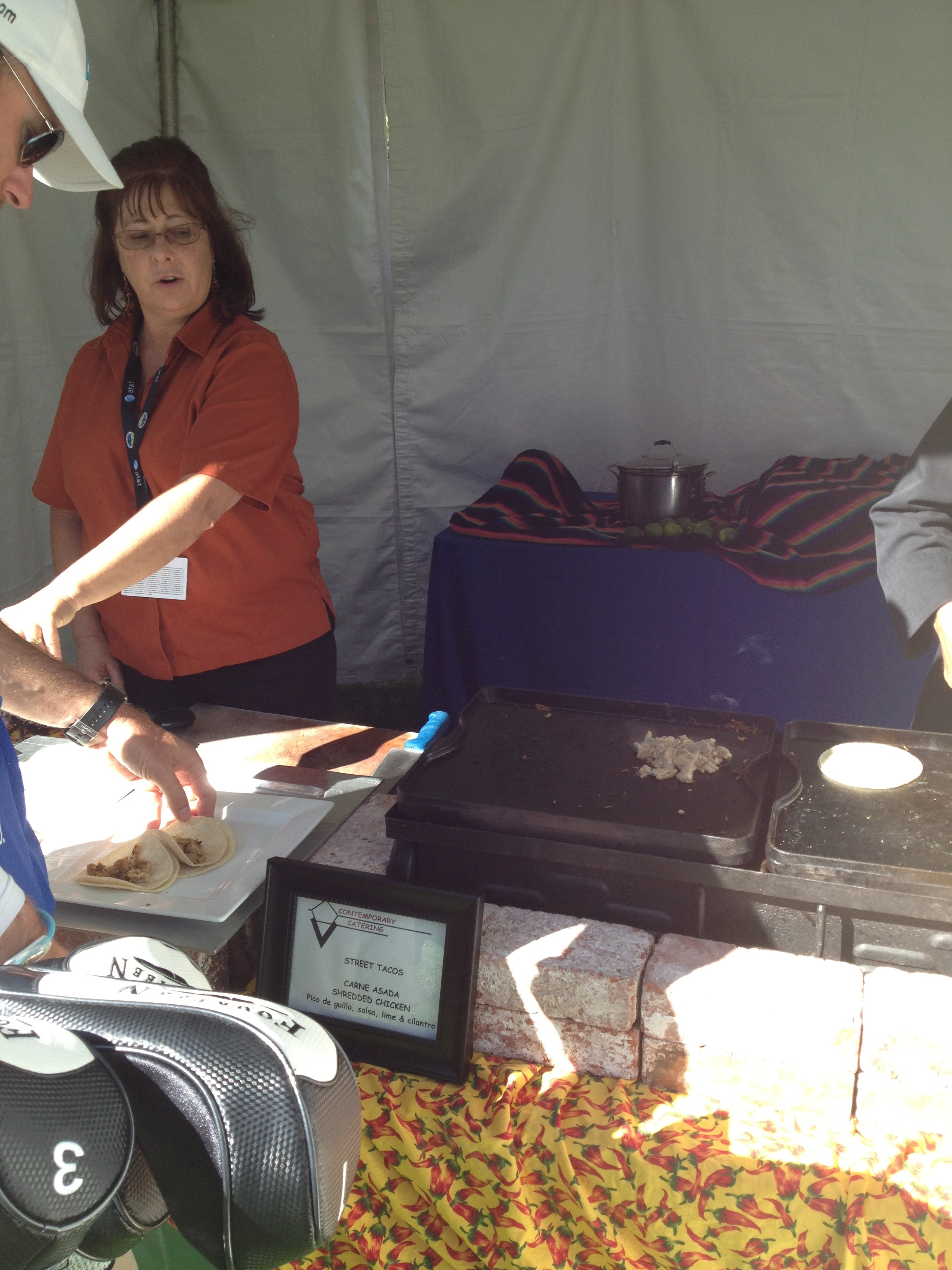 Tacos are served to the players on the 15th hole at Spyglass Hill.