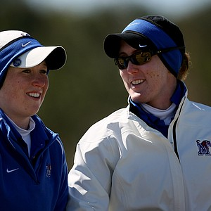 Kathleen Glavin of Memphis with assistant coach Adrian Sportsman during the first round.
