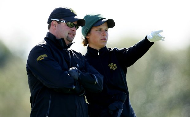 Valerie Sterneback of Baylor with head coach, Jay Goble, during the first round of the UCF Challenge at Red Tail.