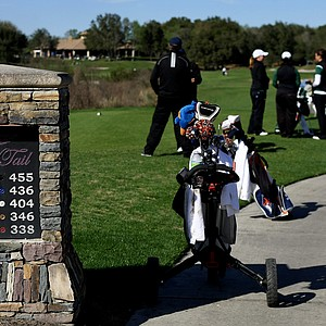 Teams wait at No. 18 during the first round of the UCF Challenge at Red Tail Golf Club.
