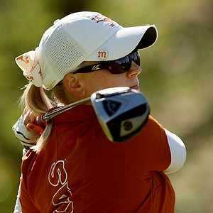 Madison Pressel of Texas tees off at No. 1 during the second round.