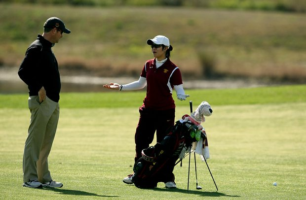 Minnesota's Sarinee Thitiratanakom, right, with assistant coach John Cleary, during the second round. Minnesota is T16 after round 2.