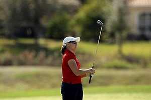 Katy Nugent of Kansas watches her second shot at No. 18. After two rounds she is T43.