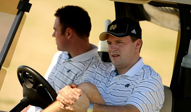 University of Notre Dame head coach, Jim Kubinski watches his players during the semi-finals of The Match Play against Central Arkansas at Reunion Resort.