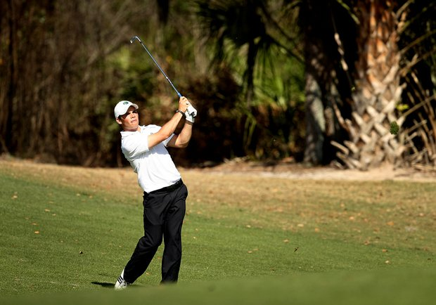 Notre Dame's Max Scodro watches a shot during the Championship round of The Match Play.