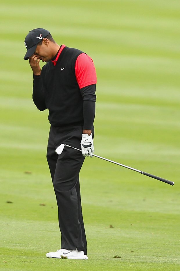 Tiger Woods shot a 3-over 75 on Sunday at Pebble Beach, missing out on his first PGA Tour title in more than two years.