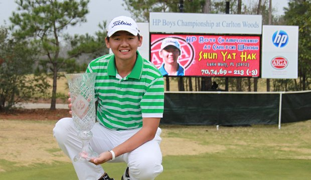 Shun Yat Hak after winning the HP Boys Championship.