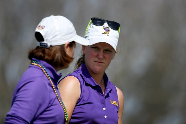 LSU's Austin Ernst, right, talks with head coach Karen Bahnsen during the final round of the Central District Invitational. LSU placed fourth.