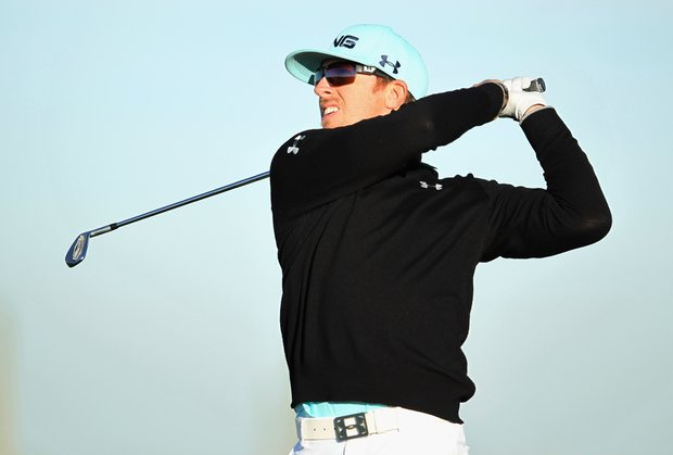 Hunter Mahan hits his tee shot on the third hole during the first round of the World Golf Championships-Accenture Match Play Championship.