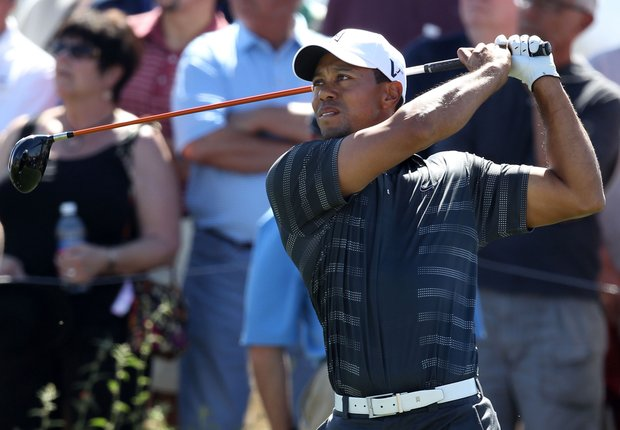 Tiger Woods hits his tee shot on the eighth hole during the second round of the World Golf Championships-Accenture Match Play Championship.