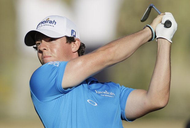 Rory McIlroy tees off during the Match Play Championship.