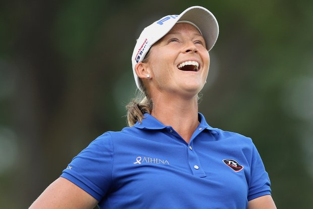 Angela Stanford won the HSBC Women's Champions in Singapore in a three-player playoff on Sunday.