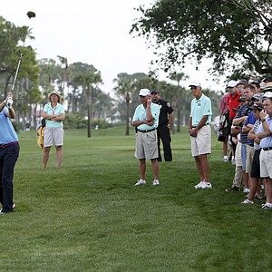 Keegan Bradley hits on the 11th fairway during the first round of the Honda Classic.