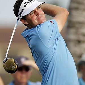 Keegan Bradley tees off on the 12th hole during the first round of the Honda Classic.