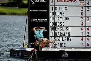 The floating scoreboard at No. 18 on Friday at the Honda Classic.