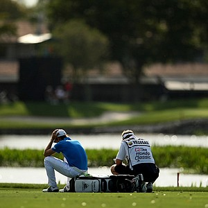 Camillo Villegas waits in the fairway at No. 11 on Friday. Villegas missed the cut for the weekend.