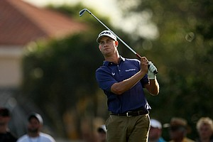 Harris English watches a shot during the third round of the Honda Classic.