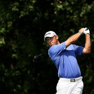 Lee Westwood hits his shot at PGA National's third hole.