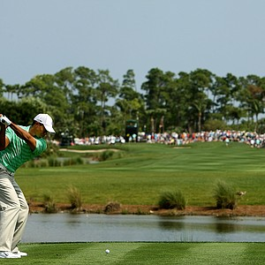 Tiger Woods hits his tee shot at No. 6 on Saturday at the Honda Classic.