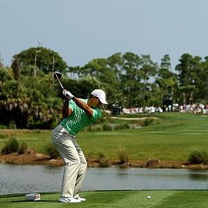 Tiger Woods hits his tee shot at No. 6 on Saturday at the Honda Classic.